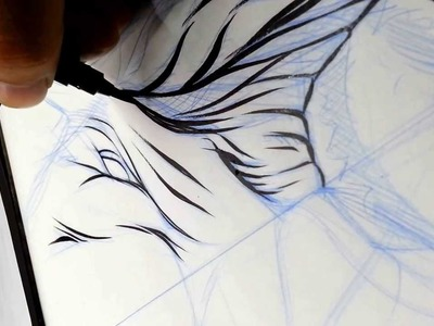 Inking using a Pentel Brush pen.