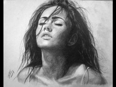 Megan Fox charcoal Portrait Drawing video - ThePortraitArt