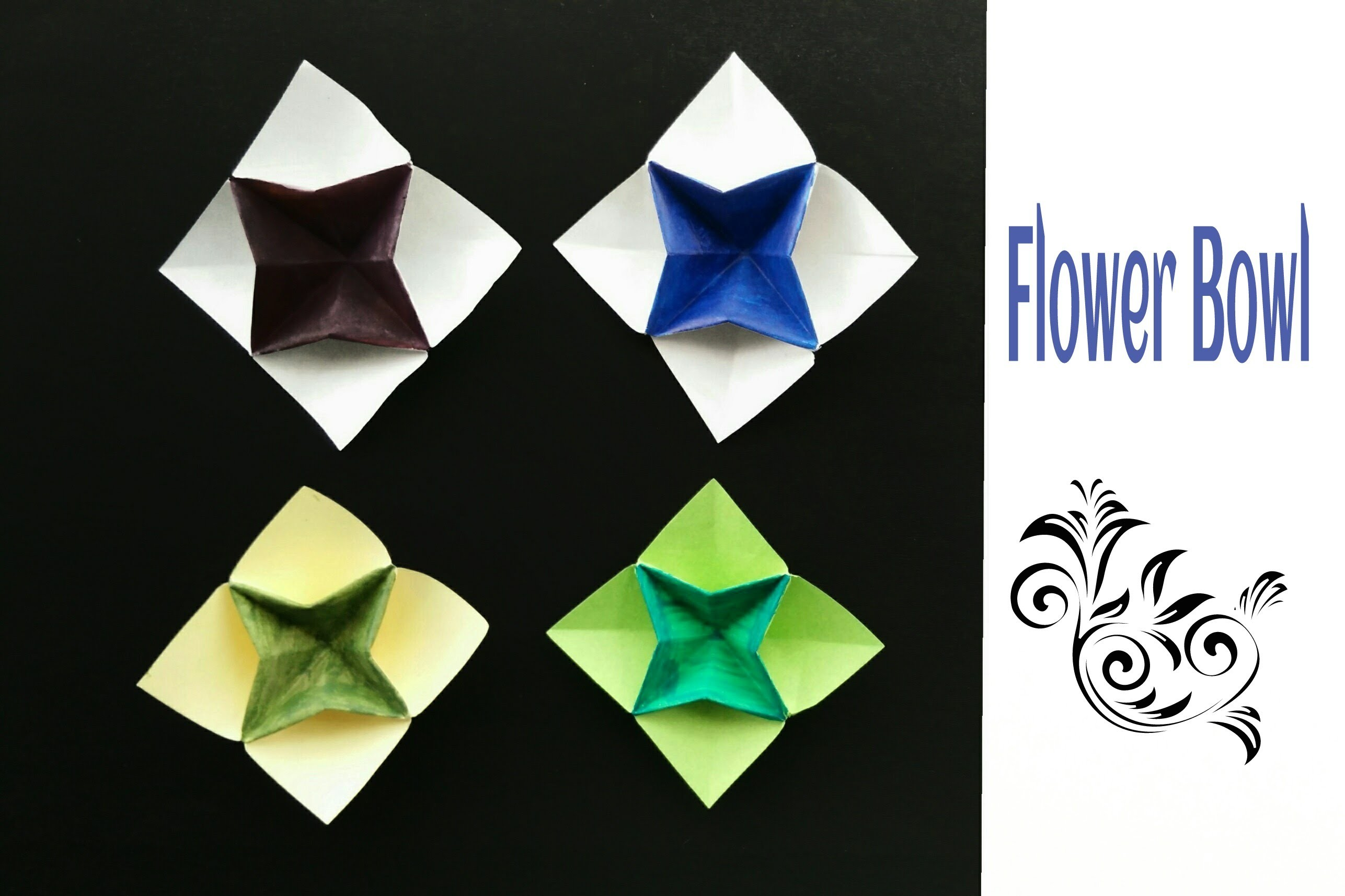 "Origami Paper ""Flower Bowl"" - Very easy to make !!"