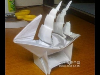 Origami. Ship of paper. How to make origami boat