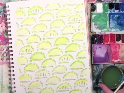 Using Watercolors with a Stencil in an Art Journal