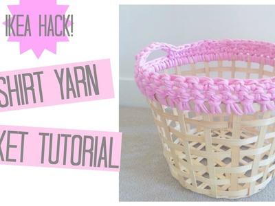 CROCHET: T-shirt yarn IKEA basket tutorial | Bella coco