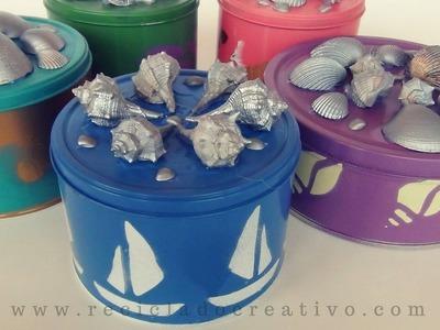 DIY Cajas de Galletas decoradas con motivos marineros. Cookie tin box painted (seaside patterns)