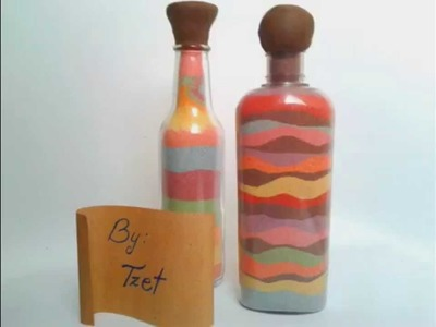 DIY. Colored sand bottle ♥ Manualidades. Botella con arena multicolor