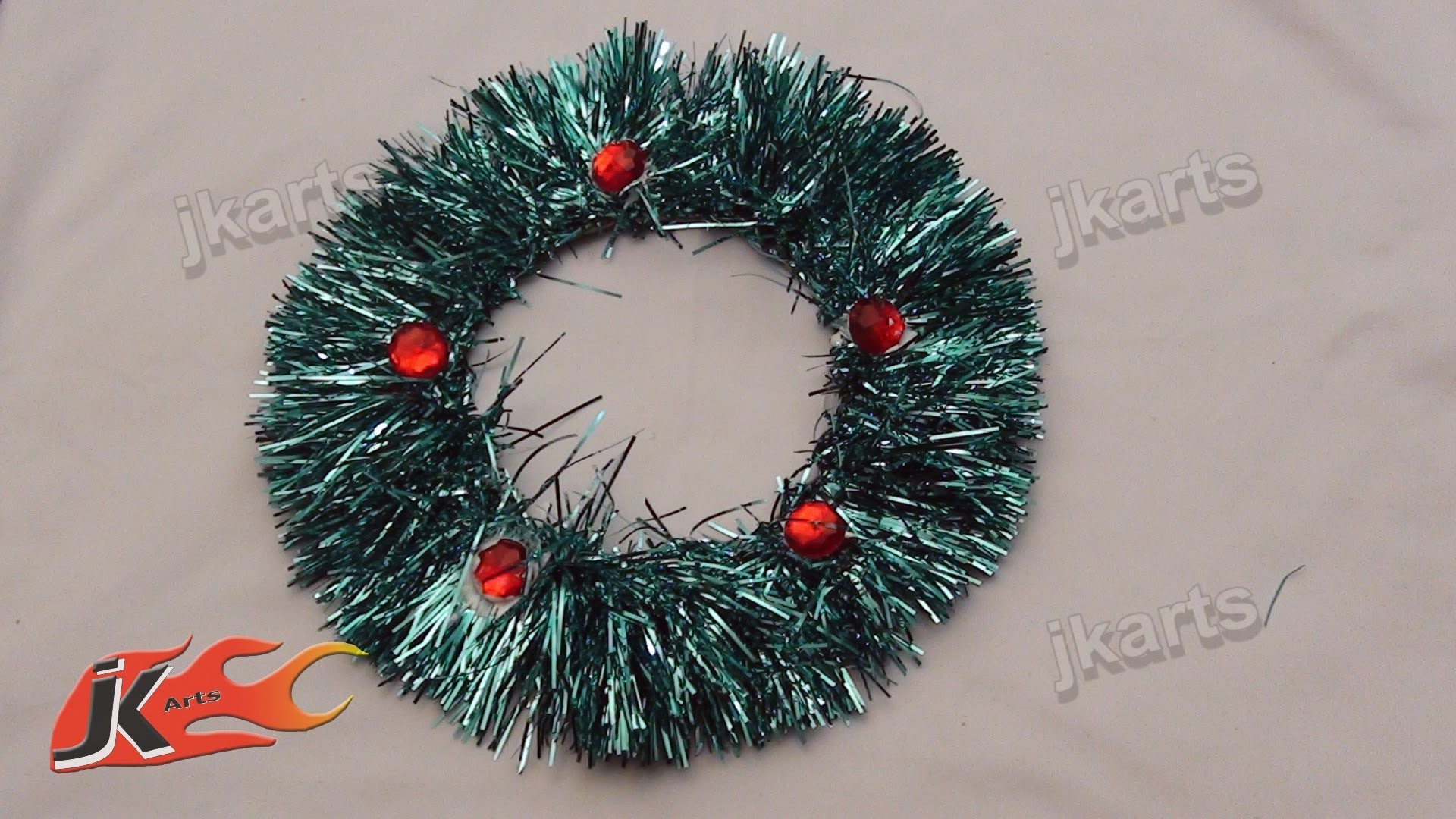 DIY How to make Tinsel wreath christmas ornament - JK Arts 105