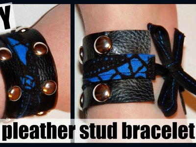 DIY Studded Pleather Cuff Bracelet with Bow - Easy Jewelry Tutorial - Faux Leather - Sewing