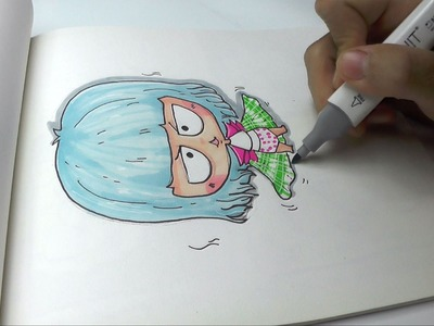 How to Draw a Cute Blue Hair Girl Easy DIY