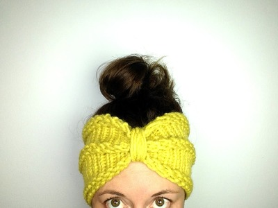 "How to Loom Knit a ""Bow"" Turban Headband. Ear warmer (DIY Tutorial)"