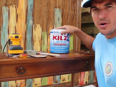 How-to Paint.Distress.Antique Furniture: Project 3 painted blue, refinished, and distressed