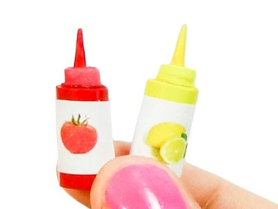 Miniature Doll Ketchup or Tomate sauce Tutorial -  Dollhouse DIY