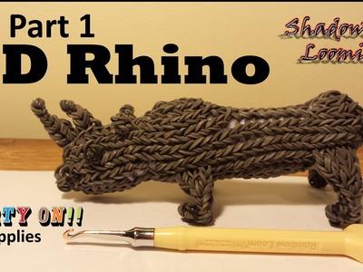 Rainbow Loom 3D Rhino Part 1 of 3 (Legs) On One Loom Board