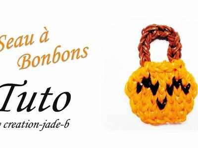 Tuto Rainbow Loom - Halloween Seau à Bonbons Citrouille ! (Pumpkin)