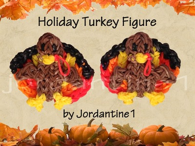 New 3D Holiday Turkey Figure.Charm - Rainbow Loom - Thanksgiving Fall