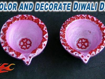 DIY Diwali Diya Decoration | How to color and decorate | JK Easy Craft 054