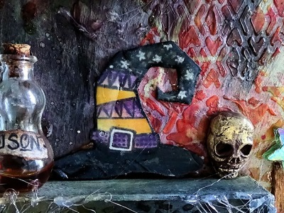 Halloween Mixed media  DIY UTEE Ranger Melt art ,Witch Poison bottle