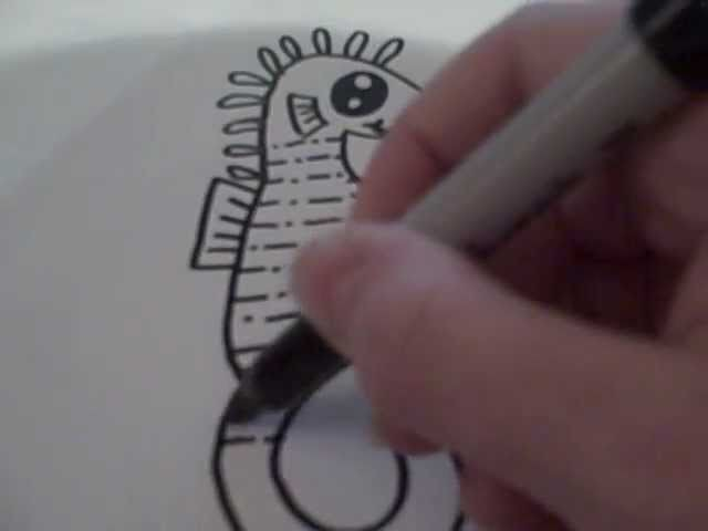 How to Draw a Cartoon Seahorse
