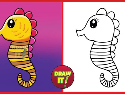 How To Draw A Seahorse - Trace