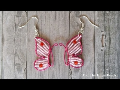 Butterfly Earrings made with wire by HoneyBeads1