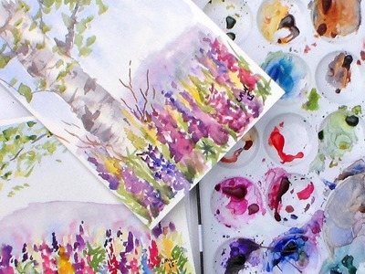 Birch Tree and Lupine Flowers watercolor tutorial