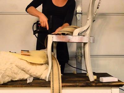 How to apply jute webbing. Upholstery tutorial.