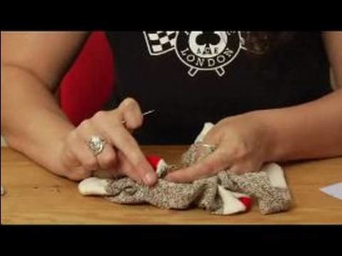 How to Make a Monkey Sock Puppet : How to Attach Bottom Snout to a Sock Puppet