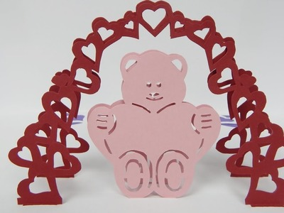 How to make a Pop up card  Bear with heart  Valentines day greeting card (tutorial + free pattern)