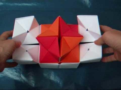 Origami - modular - double star flexicube (David Brill) - dutchpapergirl