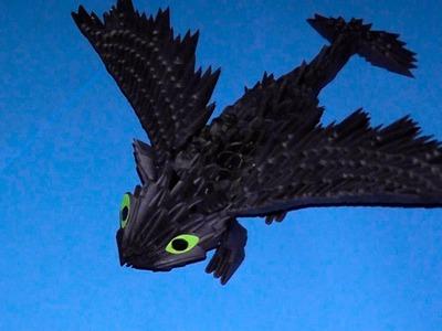 3D origami dragon Night fury (Toothless) tutorial (instruction)