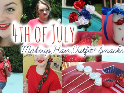 4th of July Makeup,Hair,Outfit,+DIY Snacks♡
