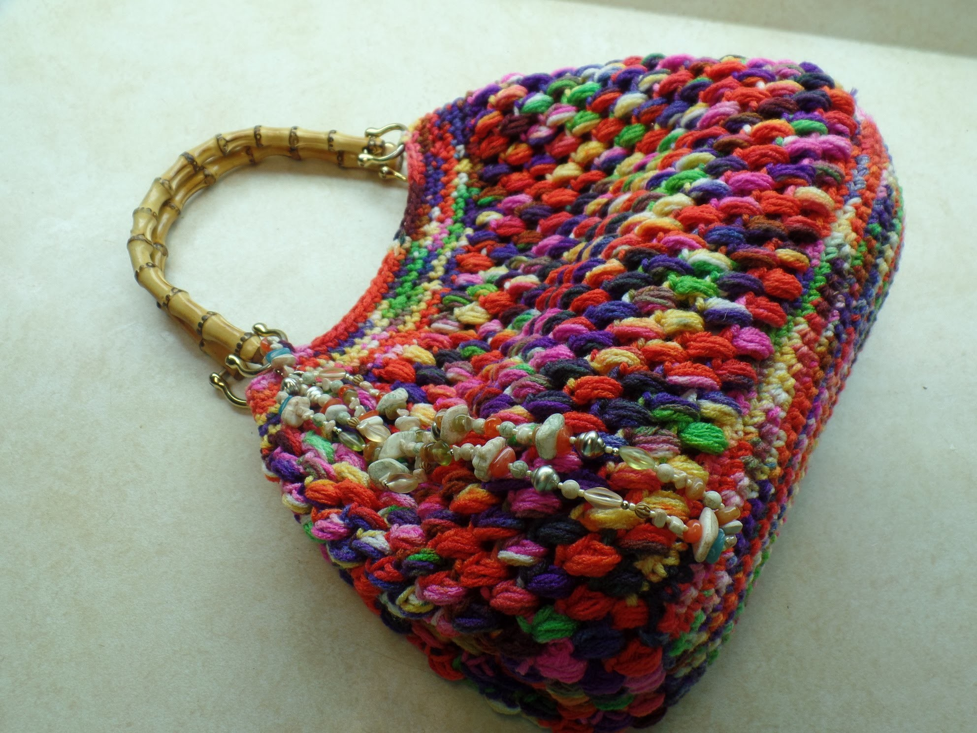 #Crochet Puff Bean Stitch Handbag Purse #TUTORIAL