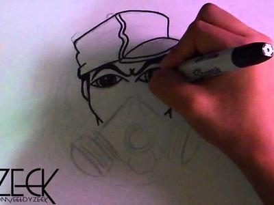 Dibujo de un caracter de mascara de gas con spraycans  Tributo a Cholowiz13 | ZaXx