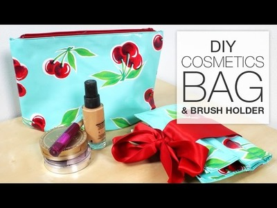 DIY Makeup.Cosmetics Bag with Brush Holder - Free Pattern