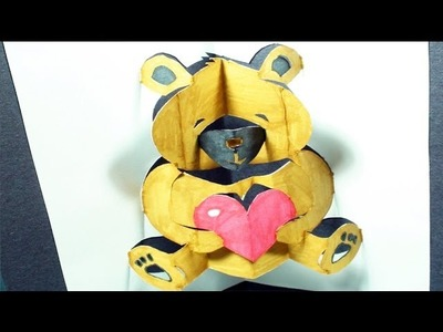 How to make a Teddy Bear: Pop-Up Card | FREE Template - (Kirigami 3D) Valentine's Day Greeting!