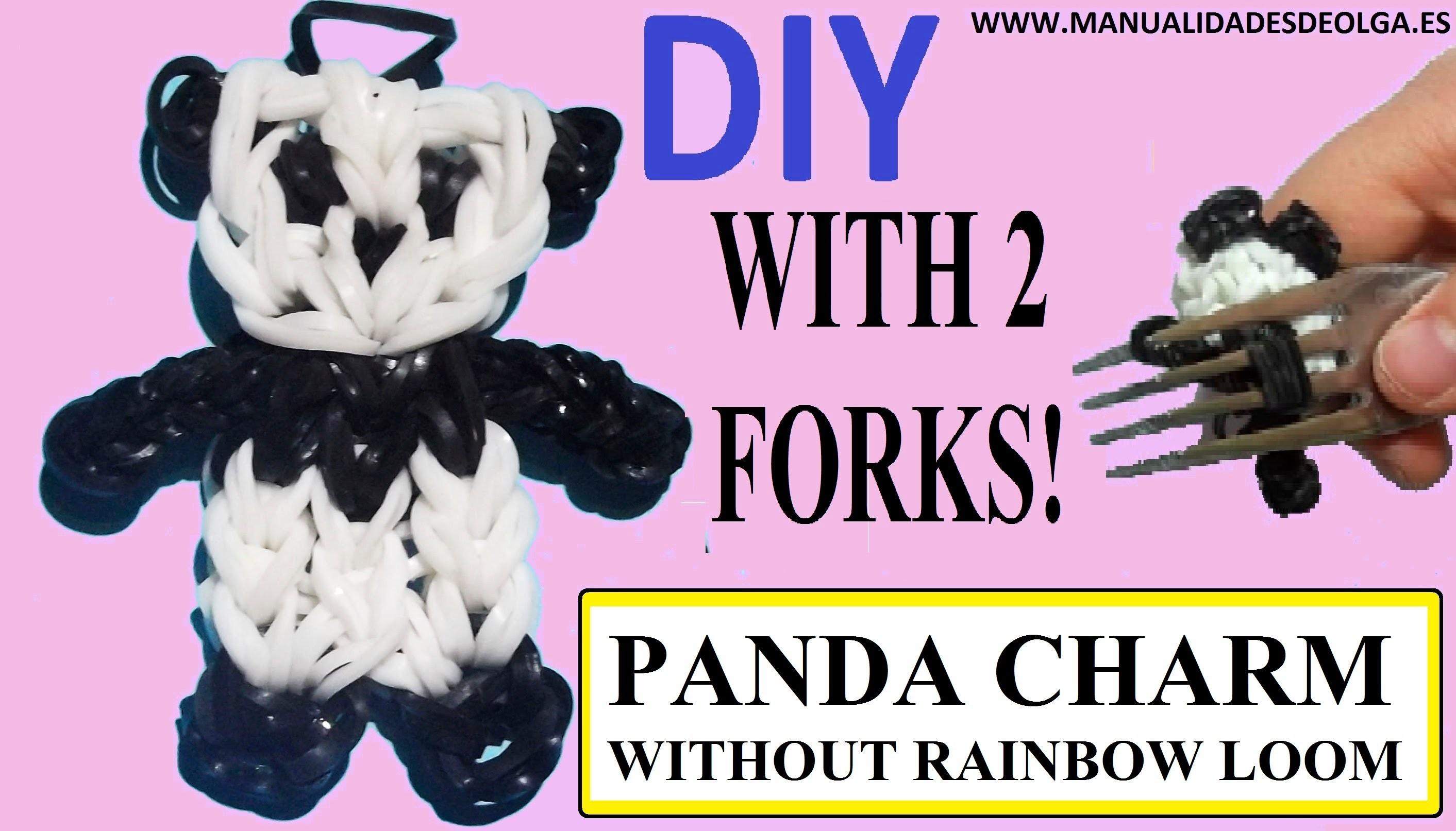 PANDA CHARM figurine With two forks without Rainbow Loom Tutorial. (Mini Figurine)