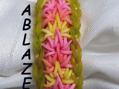 "Rainbow Loom Bracelet - Original Design - ""ABLAZE"" (ref # 4u)"