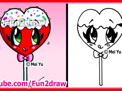 How to Draw A Heart Lollipop