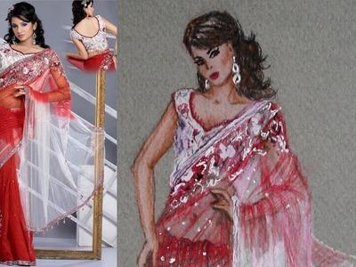 Saree. Sari Tutorial: Fashion Design Drawing Lesson