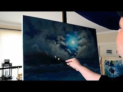 Stonehenge -  Full Moon Acrylic Time Lapse Painting