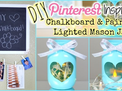 DIY: Pinterest Inspired Painted Lighted Mason Jar + DIY Chalkboard | Collab W. Dearnessa