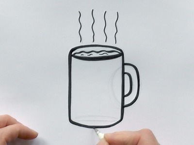 How to Draw a Cartoon Cup of Coffee