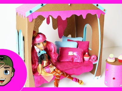 How to make a Ginger BreadHouse Doll Bed Tutorial - Ever After High