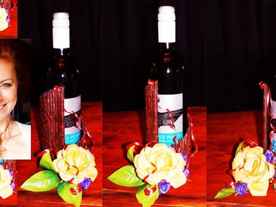 How to make gift basket for a bottle of wine from a newspaper