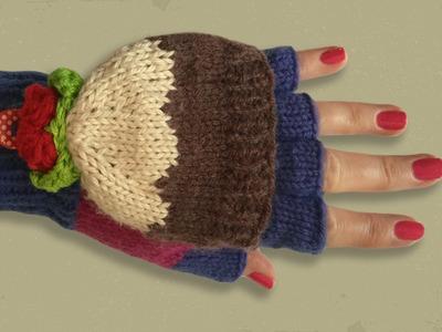 CHRISTMAS GLOVES PART 2 - Fingerless Gloves With Christmas Pudding Design