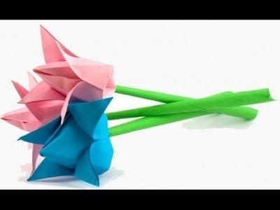 Easy origami flower Tulip  - How to make origami flowers tulip very COOL!