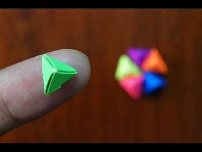 Mini Origami - How to make Mini Triangle Pyramid Origami