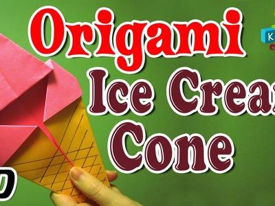 Origami - How To Make ICE-CREAM CONE - Simple Tutorials In English
