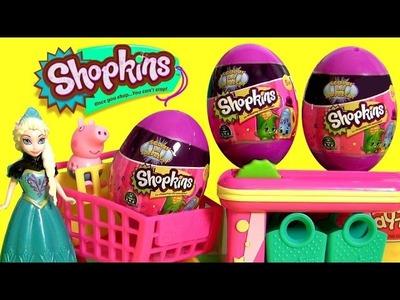 Queen Elsa Shopping For Shopkins Eggs Surprise Toys Disney Frozen at the Supermarket Cash Register