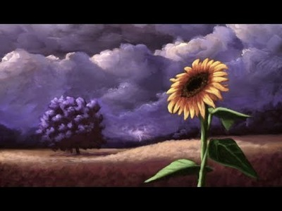 Sunflower Among a Stormy Sky Painting - Time Lapse Acrylic Painting by Nagualero