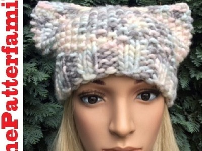 How To Knit a Cat Hat Pattern #28│by ThePatterfamily