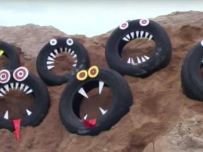 Craft Ideas For Kids - Tire Faces   Mega Cardboard Craft   Øistein Kristiansen